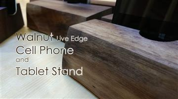 Walnut Live Edge Cell Phone and Tablet Stand